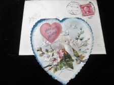 ANTIQUE VALENTINE CARD HEART DOVES + ENVELOPE + POSTED NY USA 2 CENTS STAMP 1907